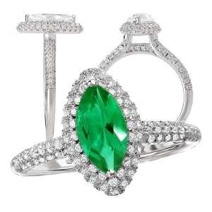 117326-100em Marquise Cut Chatham Emerald Engagement Ring