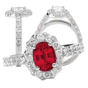 Chatham lab-grown ruby engagement ring with diamond halo