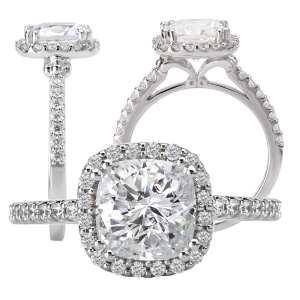 117420-100 cushion cut diamond semi-mount engagement ring