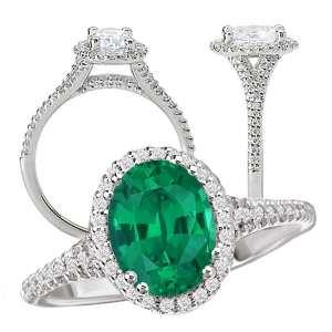 117424em Oval Chatham Emerald Engagement Ring