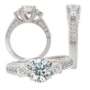 117743 Three-stone diamond semi-mount engagement ring