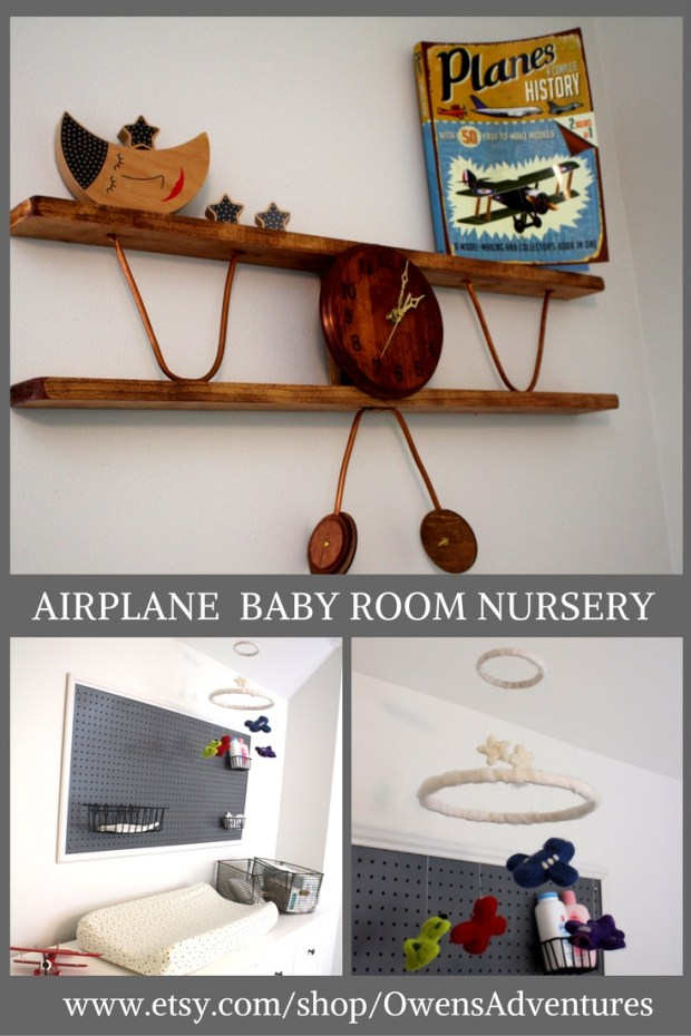 Nursery Airplane Clock DIY Rustic