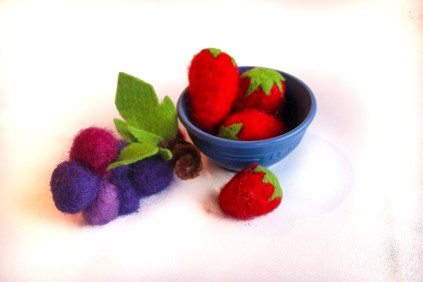 needle felt berries grapes
