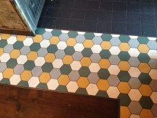 Matching tiles, nice setting idea for kitchen, assuming they can be sourced as recycled