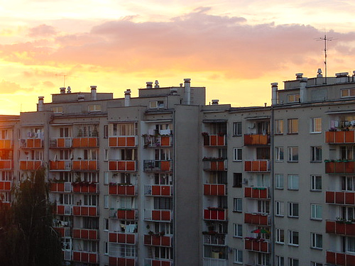 Warsaw Apartment Block at Dusk