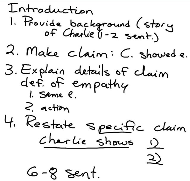 Notes on how to create an introductory paragraph (first and fifth periods)