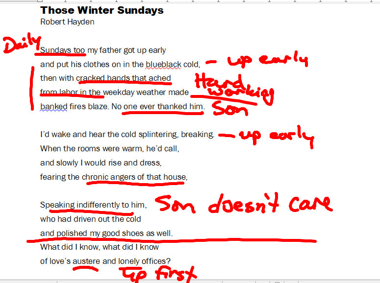 """those winter sundays by robert hayden 2 essay In the poems """"those winter sundays"""" by robert hayden and """"my papa's waltz"""" by theodore roethke, a relationship between a father and son are portrayed as both authors reflect on their own childhood experiences."""
