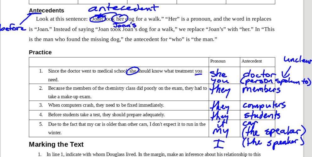 Antecedents and Subtext