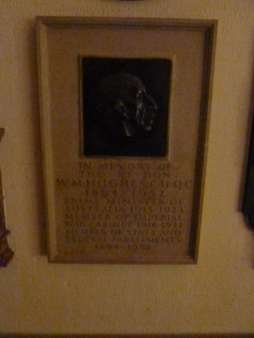 Billy Hughes Plaque in St Paul's Crypt
