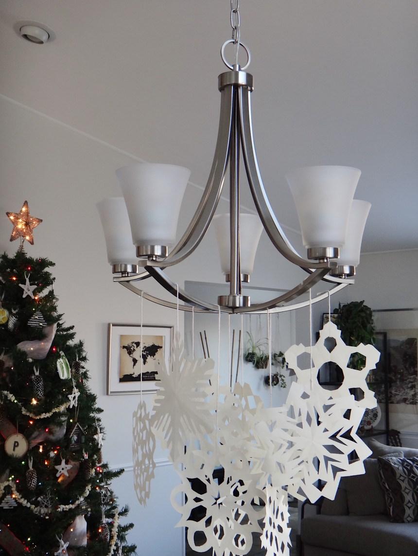 DIY Paper Snowflake Chandelier Winter Wonderland