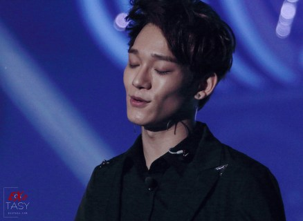 Chen with his eyes closed