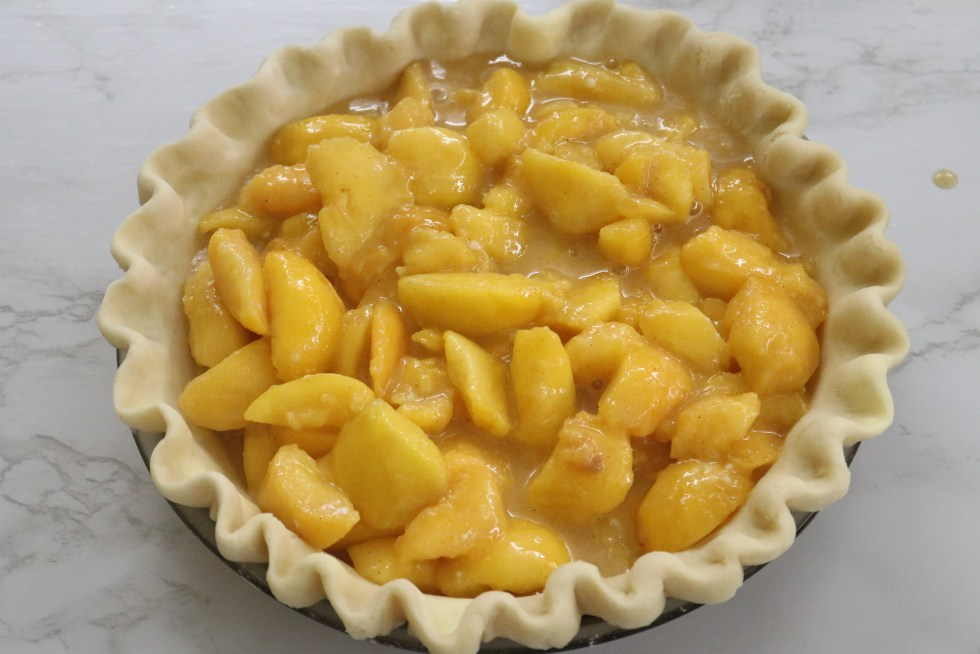 A single pie crust loaded with a juicy peach filling
