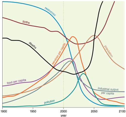 """Figure 1. Base scenario from 1972 Limits to Growth, printed using today's graphics by Charles Hall and John Day in """"Revisiting Limits to Growth After Peak Oil"""" http://www.esf.edu/efb/hall/2009-05Hall0327.pdf"""