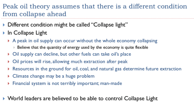 13. Peak oil theory assumes that there is a different condion from collapse ahead 1