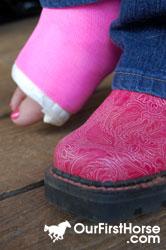 Broken Foot Pink Cast