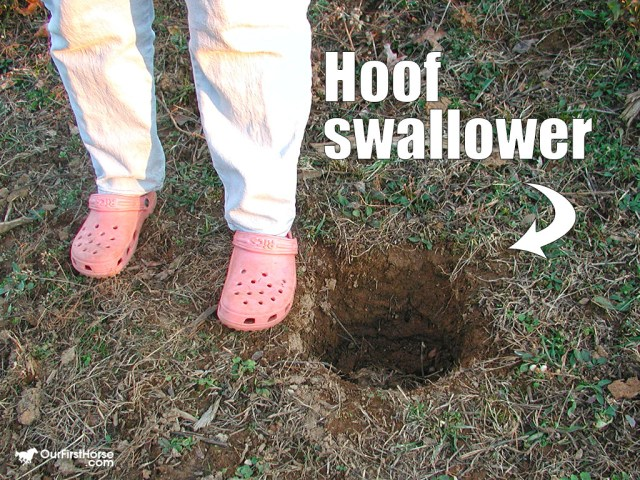 Hoof swallowing hole