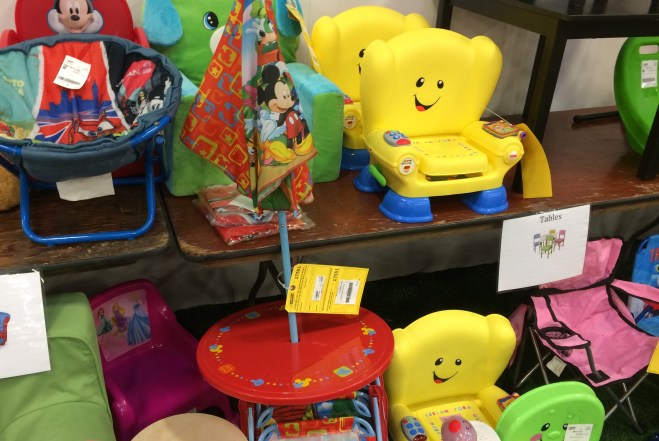 Kids' picnic tables, chairs and toys are big sellers.