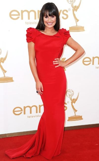 Lea Michelle sleek hairdo Emmy 2011