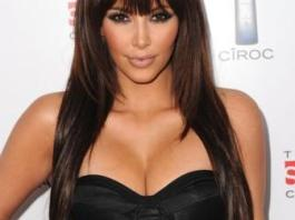 Kim Kardashian hairstyle with bangs