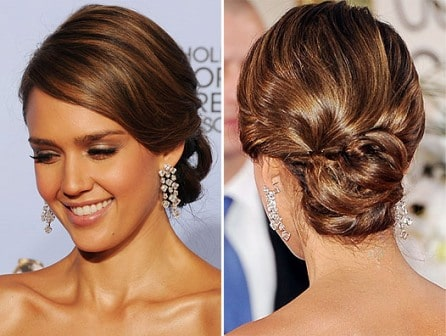 Jessica Alba hairdo Golden Globe Awards 2012
