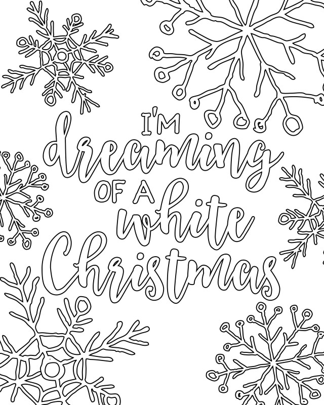 Free Printable White Christmas Adult Coloring Pages - Our