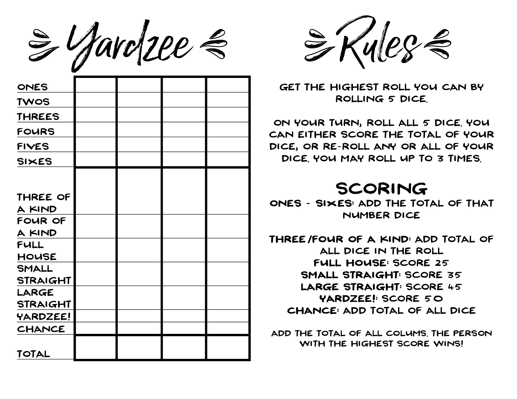 photograph relating to Free Printable Yardzee Score Card titled Hefty Yahtzee Rating Card Pdf