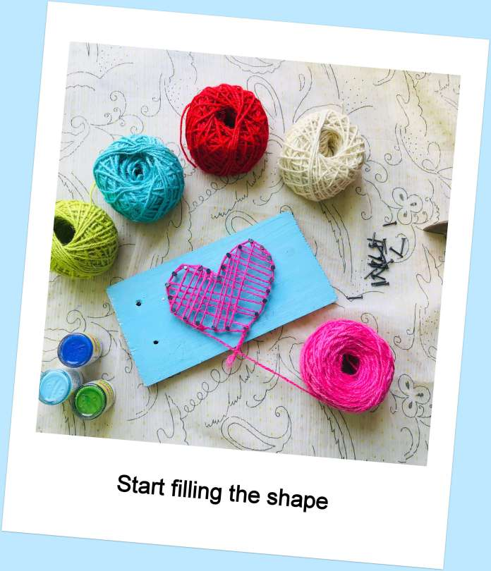 fill the shape for string art DIY project