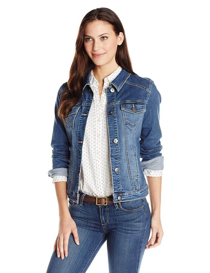 A girl wearing Denim Jacket with white shirt