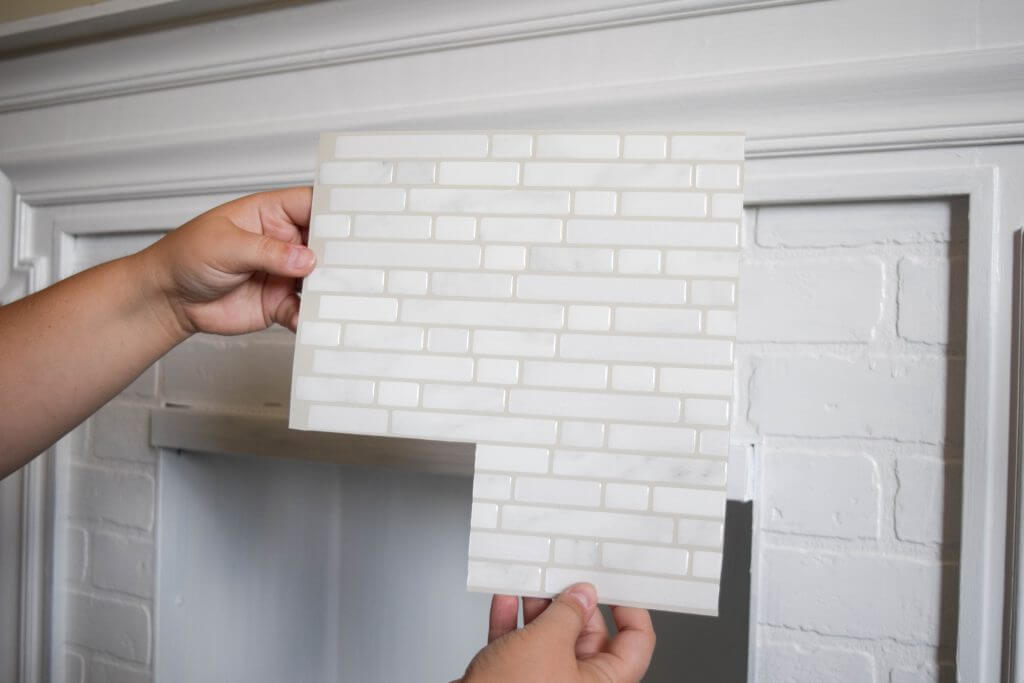 easy peel and stick tile fireplace