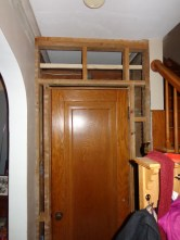 Powder room door frame