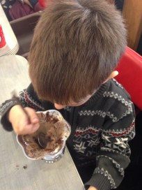He made sure to scrap out every last bit of ice cream