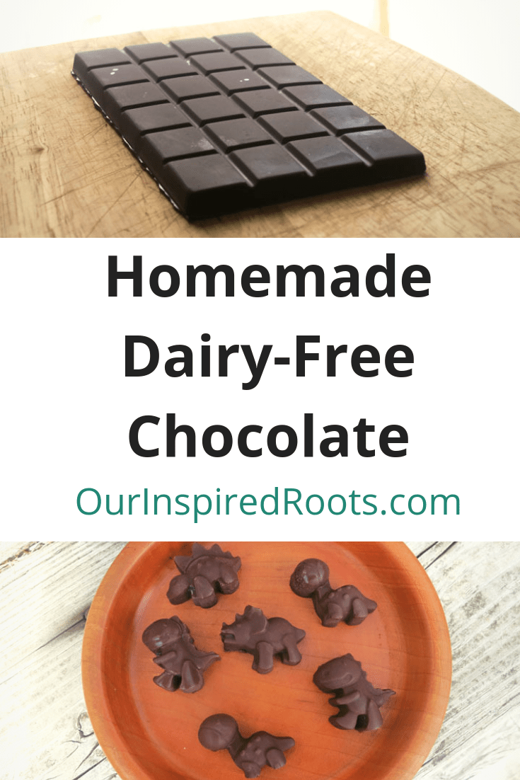 This homemade chocolate is so easy to make. This recipe is dairy free, gluten free, soy free, and is made with real food ingredients. Yummy *and* healthy.
