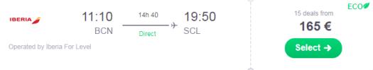 Conexión Chile por 165 euros trayecto.