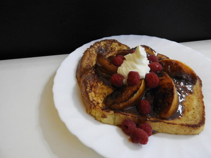 Blackened Peach & Raspberry French Toast with Almond Mascarpone Cream