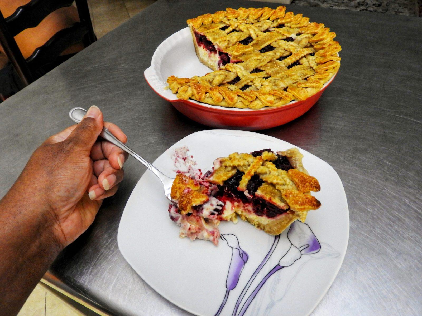 Lattice-Topped Cherry Cheesecake Pie