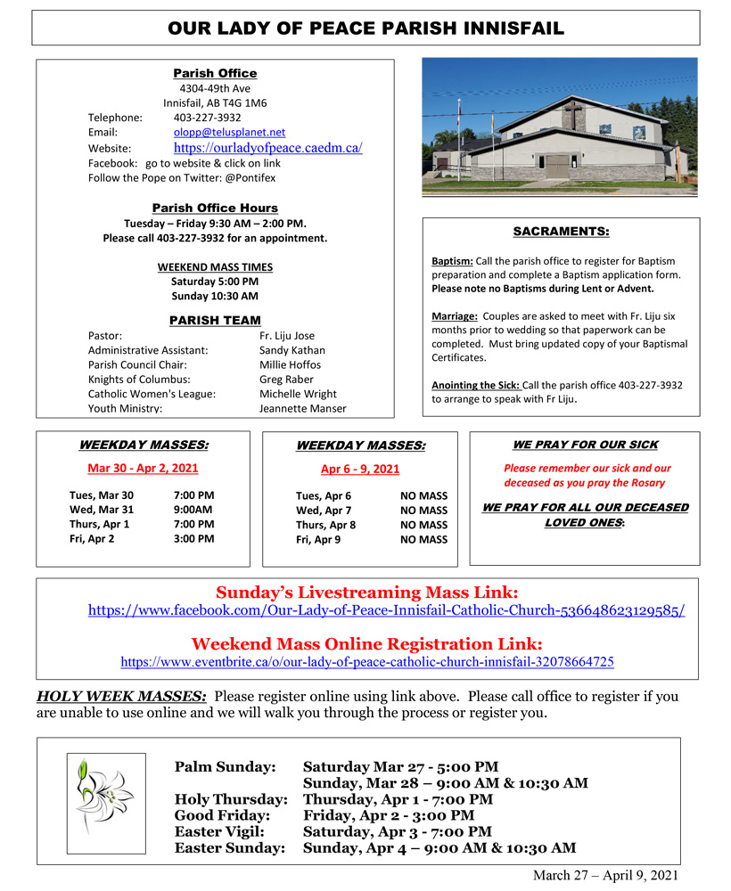 Our Lady of Peace Catholic Church - March-April 2021 Newsletter