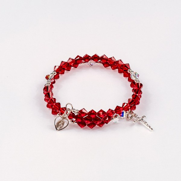 July Ruby Rosary Bracelet