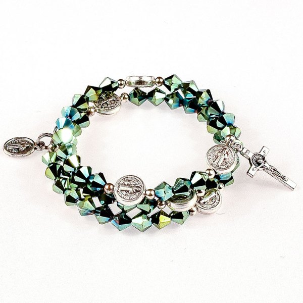 iridescent green crystal rosary bracelet