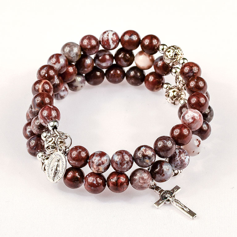 red lightning agate gemstone rosary beads bracelet