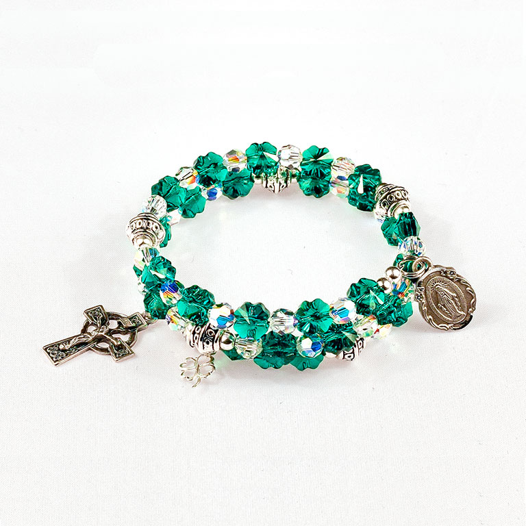 rosary beads bracelet swarovski sterling silver