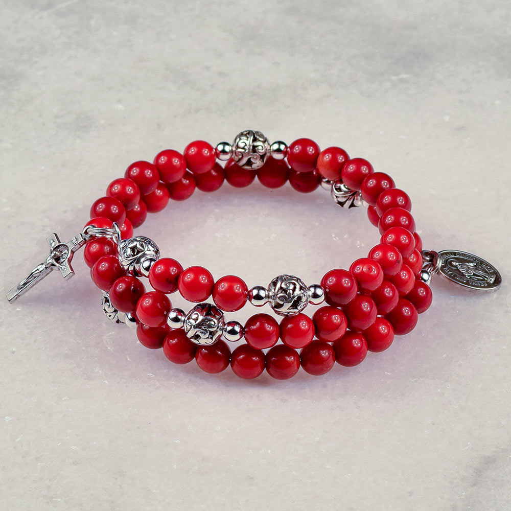 Bamboo Coral Rosary Bracelet