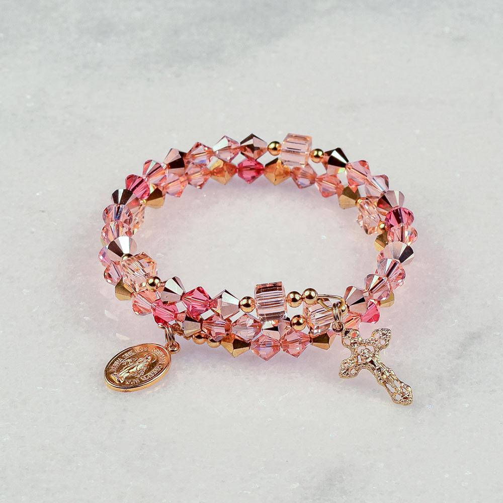 Coral Rose Gold Rosary Bracelet