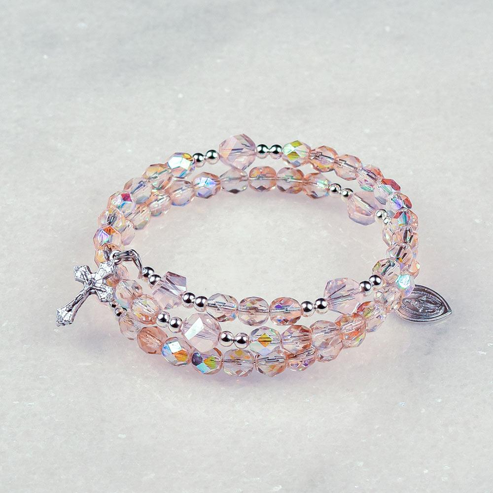 Crystal Rose Rosary Bracelet