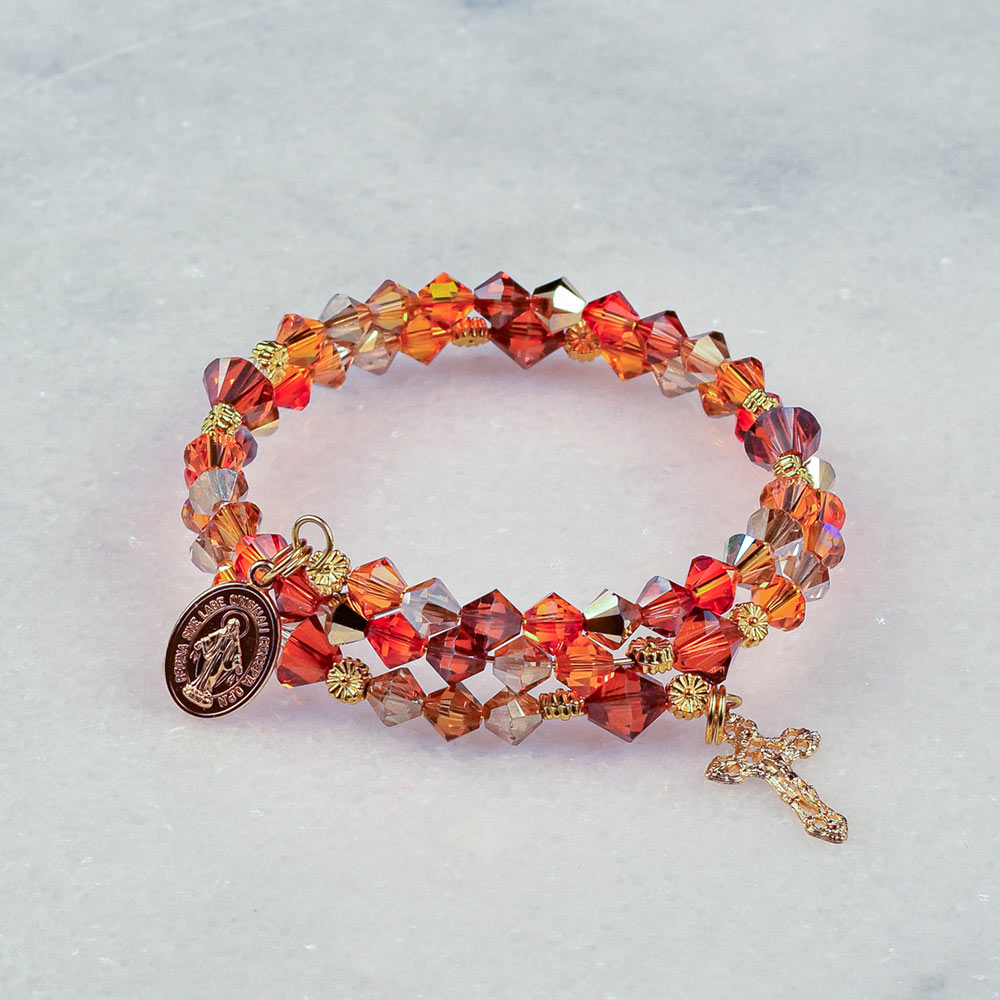 Marys Marigolds Rosary Bracelet