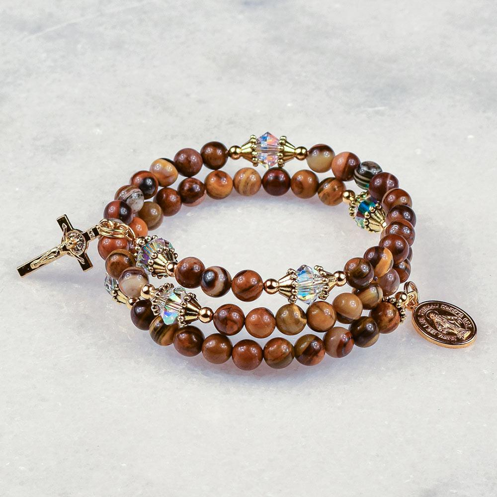 Tiger Zebra Jasper Rosary Bracelet