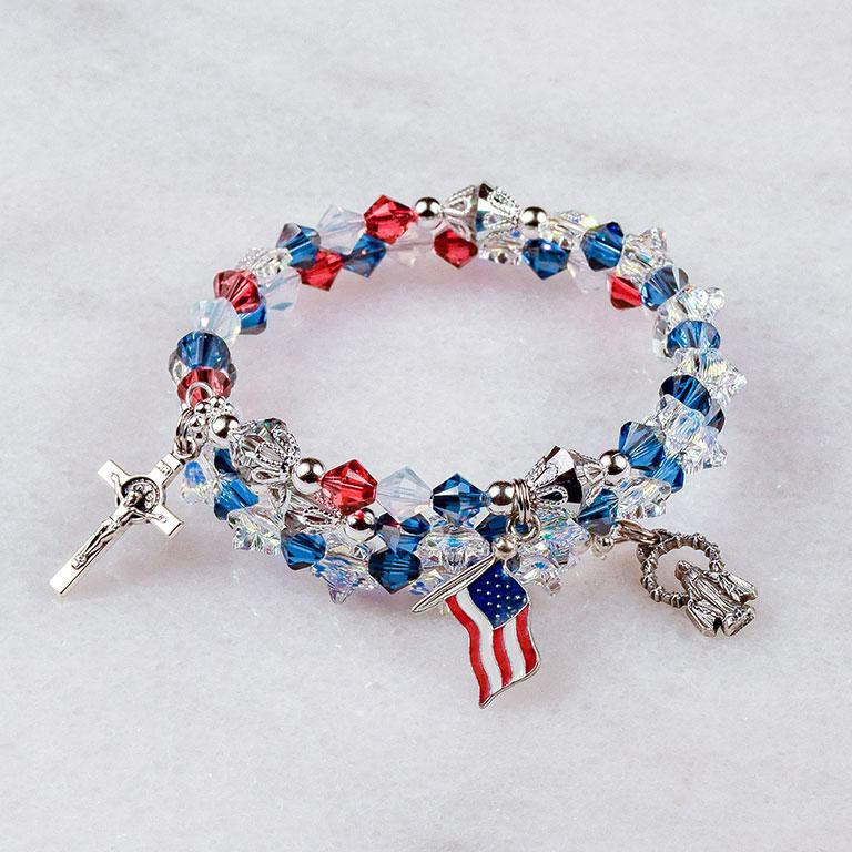 God Bless America Rosary Bracelet