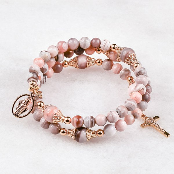 Pink Botswana Agate Rosary Bracelet