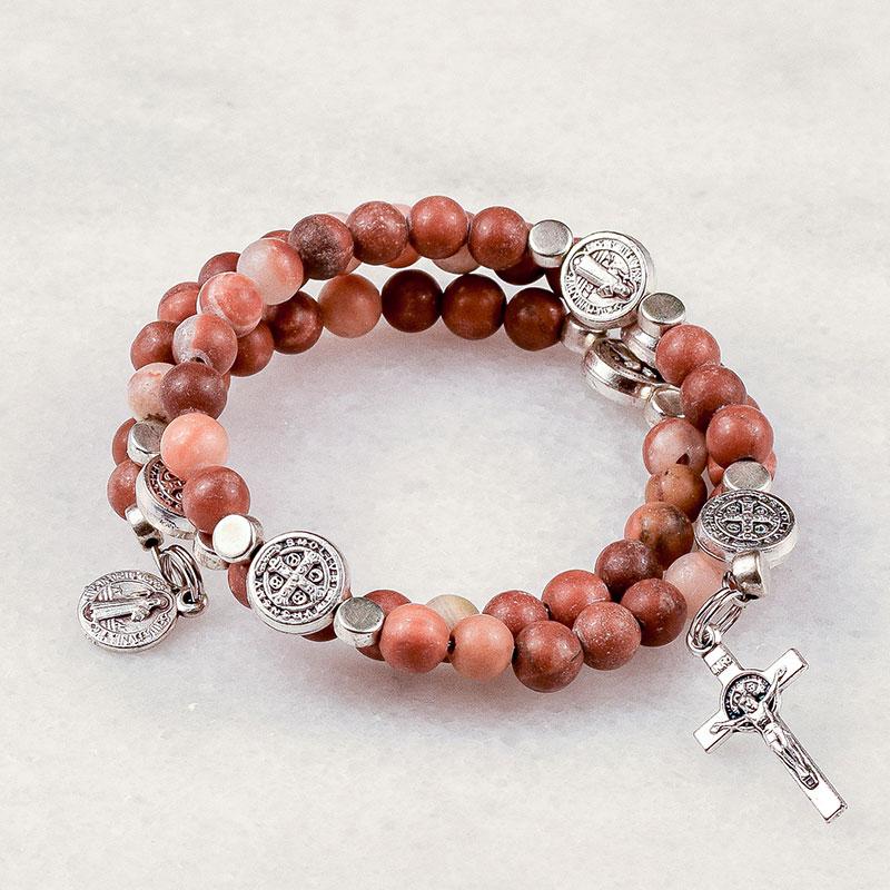 Red Italian Onyx St Benedict Rosary Bracelet