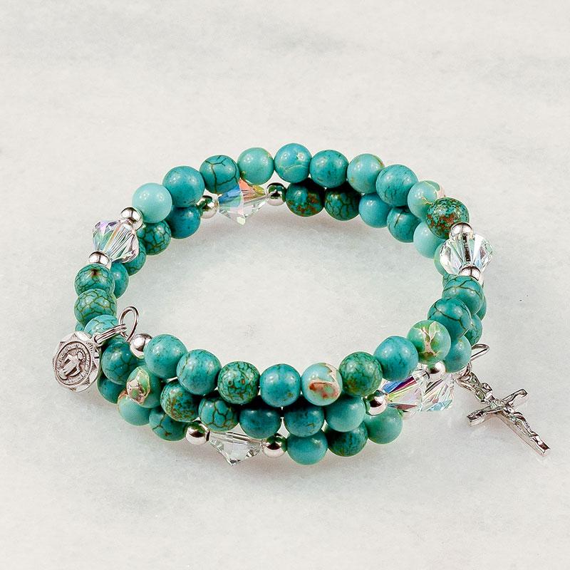 Turquoise Magnesite Rosary Bracelet