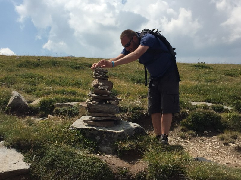 Adding pebbles to the pile in Rila, Bulgaria